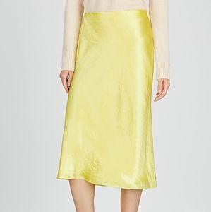 Vince Lemon Bias Satin A Line Skirt